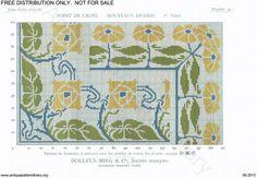 D.M.C. Point de Croix Nouveaux Dessins (1re Série) page 17. Art nouveau borders and corners, floral, blue, green, yellow