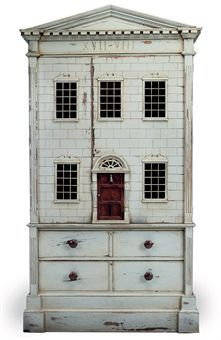 A GREY PAINTED MAHOGANY 'DOLL'S HOUSE' LINEN PRESS  OF RECENT MANUFACTUREhttp://www.christies.com/