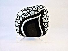 Unique 3D Art Object OOAK Painted Rock Black Silver by IshiGallery