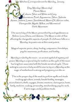 ☽✪☾...The Witches Correspondences for Monday, January