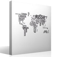 Vinilo decorativo Mapa mundi tipográfico