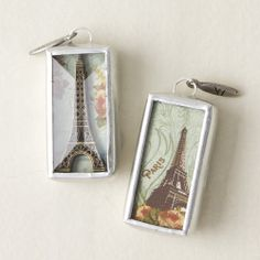 Brass Eiffel Tower - You'll look merveilleuse in this Shadow Box Charm featuring one of the world;s most elegant, inspiring icons.