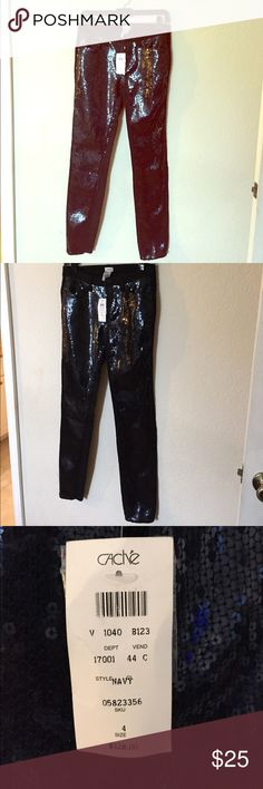 ✨Brand 🆕 Sequin Cache Pants✨ Sequin pants by Cache. Brand new with tags. Sequins in front plain on back with pockets. Shape nicely. 70% cotton 29% polyester 1% spandex Cache Pants Skinny