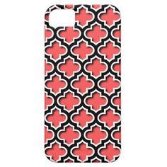 Quatrefoil Chic Coral Red Mosaic Pattern Apple iPhone SE + 5/5S case