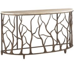 Limited Production Design & Stock: Demilune Iron Boab Tree Console Table * Marble Tabletop * 34 x 62 x 19 inches * Partner Coffee Tables & Side Tables Available