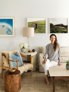 Shop the Look: Jenni Kayne's Lake Tahoe Home | framed wall photos + cream colored living room with wood accents