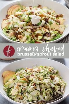 Creamy Shaved Brussels Sprout Salad is a crisp, crunchy salad recipe with apples, bacon and a creamy flavorful dressing. It's a delicious way to enjoy brussels sprouts! #saladrecipes #glutenfree #brusselsprouts Delicious Dinner Recipes, Healthy Salad Recipes, Lunch Recipes, Free Recipes, Whole Food Recipes, Brussel Sprout Salad, Brussels Sprouts, Veggie Wraps, Grilled Chicken Salad