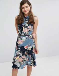 5d354f13dd02 Oasis Longline Floral Print Belted Skater Dress blue asos Day Dresses, Blue  Dresses, Dress