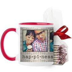 Happiness Mug, Red, with Ghirardelli Peppermint Bark, 11 oz, Beige