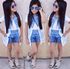 Our Gorgeous girl Txunamy wearing our denim vintage shorts & Belle denim waistcoat
