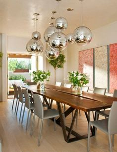 Interior Design Ideas For Dining Room With Ball Chrome Ceiling Light Above  Rectangular Wood Table And