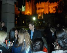 Tom Hiddleston signed and took photos with fans waiting on the set of 'Crimson Peak' on April 23, 2014 [HQ]