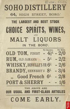 Advert for The Soho Distillery