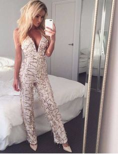 Pinterest- Chanelle RoseGold Sequin tassel elegant jumpsuit romper