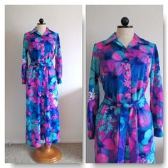 Lord & Taylor Vintage Mod Floral Button Front Loungwear Robe Housecoat Dressing Gown from VintageHag.com