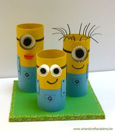 "Art & Craft Academy : Pot à crayons "" Minions"" ! - "" The minions "" potlood… Spring Crafts For Kids, Crafts For Teens, Diy For Kids, Kids Crafts, Arts And Crafts, Cardboard Tube Crafts, Toilet Paper Roll Crafts, Minion Craft, Pot A Crayon"