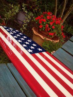 American Flag surfboard wall hanging, six foot surfboard wall art