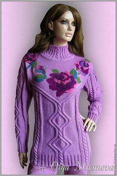 """Купить Свитер """"Лиловые розы"""" - сиреневый, однотонный, лиловый, вязаный свитер, свитер с аранами"""