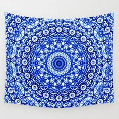 Blue Mandala Mehndi Style Wall Tapestry by MedusArt - Small: x Tapestry Wallpaper, Dorm Tapestry, Blue Tapestry, Tapestry Bedroom, Tapestries, Mehndi Style, Mandala Design, Home Decor Accessories, Decor Styles
