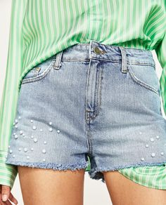 DENIM SHORTS WITH FAUX PEARLS-SHORTS-WOMAN | ZARA United States