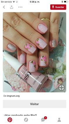 Uñas Flower Nail Designs, Colorful Nail Designs, Nail Art Designs, Fancy Nails, Trendy Nails, Shoe Nails, Gelish Nails, Nail Art Diy, Perfect Nails