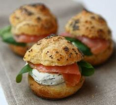 Salmon and creamcheese on store bought puffs