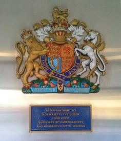 """Royal Sing DIEU ET MON DROIT """"by appointment to Her Majesty The Queen John Lewis suppliers of Haberdashery and household gifts, Lo..."""