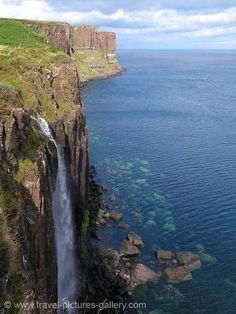 Pictures of Scotland - Highlands - Isle of Skye, Kilt Rock. My Great Grandmother is from Isle of Skye.