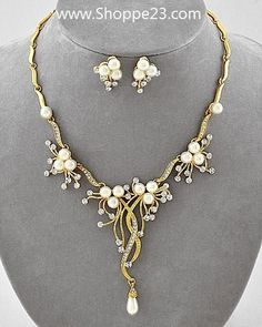 """Ivory Pearl Necklace Set 16-19"""" Elegant Gold Branch Bridal Jewelry New & Boxed $28"""