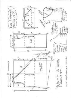Esquema de modelagem de blusa transpassada de malha tamanho M.