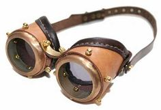 Latest Steampunk goggles from solid brass TAN AND DARK BROWN LEATHER GRAY LENSES