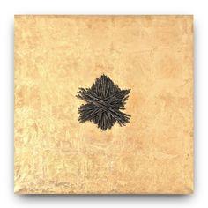 GIUSI LOISI artwork www.giusiloisi.it - ANNODANZE: corda cucita su tela con foglia d'oro. art:  rope sewn on gold canvas. corde cousue sur toile d'or. www.giusiloisi.it