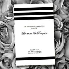Catholic Wedding Program Simply Stripes Black by WeddingTemplates, $8.00