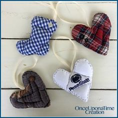 Custom Keepsake Ornaments from Clothing by Once Upon a Time Creation Memorial Ornaments, Memorial Gifts, Diy Christmas Ornaments, How To Make Ornaments, Memorial Ideas, Keepsake Crafts, Memory Crafts, Memory Pillows, Memory Quilts