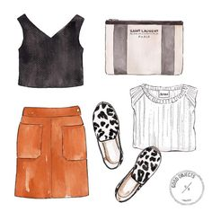 Good objects - work, work, work  @andotherstories Black crop top, @frame_denim Suede mini skirt, @saintlaurentparis_official pouch, @acnestudios white sweater, @seedheritage espadrilles #goodobjects #illustration