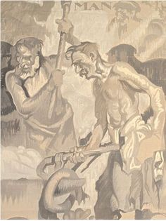 Study for Man the Master Unframed Brangwyn's celebrated murals for the Rockefeller Center adorn the facade of the Comcast building, situated at the heart of the center at 30 Rockefeller Center, Art And Architecture, Murals, Oil On Canvas, Facade, Modern Art, Literature, Walking, Nyc