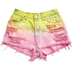 Pastel ombre high waisted shorts L ($65) ❤ liked on Polyvore featuring shorts, bottoms, pants, short, pastel shorts, silver shorts, high waisted short shorts, high-rise shorts and high-waisted shorts
