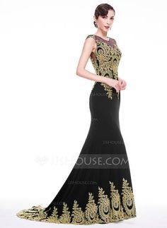 Trumpet/Mermaid Scoop Neck Court Train Jersey Evening Dress With Appliques Lace (017068795) - JJsHouse