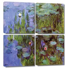 'Sea Roses' by Claude Monet 4 Piece Painting Print Gallery-Wrapped on Canvas Set
