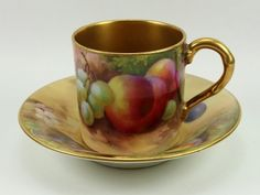RW Painted Fruit Coffee Can & Saucer by HH Price & W.Bee