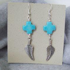 Turquoise Cross Bead Earrings Drop Earrings Dangle by GumboStew, $7.50