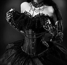 Black lace, black velvet, corset and puffy skirt- always a win!