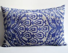 Sukan / SALE - Soft Hand Woven - Silk Velvet Ikat Pillow Cover - 16x23 inch - Blue, Beige Color. $69.95, via Etsy.