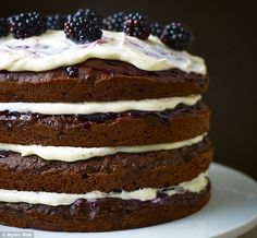 Lorraine Pascale Lighter Way to Bake Chocolate Guiness & blackberry Cake Dessert Cake Recipes, Easy Desserts, Quiches, National Chocolate Cake Day, Cake Chocolate, Blackberry Cake, Birthday Cakes For Men, Just Cooking, Cake Tins
