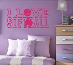 I LOVE SOFTBALL with Softball Catcher Vinyl Wall by NewWaveSigns