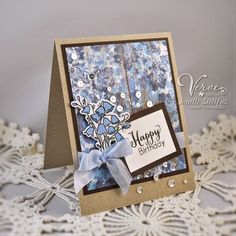 Rain Puddles Design using Verve Stamps Framed Florals Stamp Set and A Cut Above Bluebells Die. #vervestamps