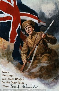 This Christmas card, which shows a soldier smoking a pipe while holding a rifle equipped with a bayonet, is one of many sent by British soldiers to their loved ones during the First World War