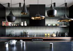 Tom Dixon Beat pendants and Popham Design tile splashback. Bright Kitchens, Black Kitchens, Colorful Kitchens, Kitchen Black, Tom Dixon, Kitchen Colors, Kitchen Decor, Kitchen Sets, Interior Dorado