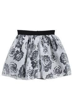 ROMWE | Rose Embroidered White Puff Skirt, The Latest Street Fashion