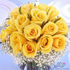 monochromatic yellow roses with baby's breath bouquet